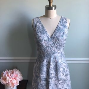 BCBG Maxazria • Blue Floral Fit and Flare Dress